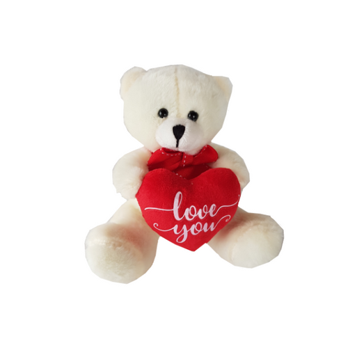 White soft teddy bear with heart cushion stating Love You
