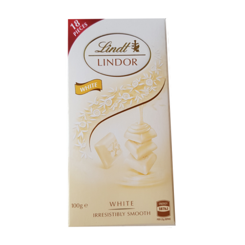 Lindt Lindor White Block Chocolate - white packet with gold and silver luxurious detailing