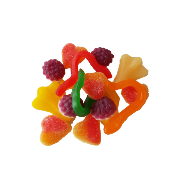Colourful mixture of delicious classic lollies and gummies