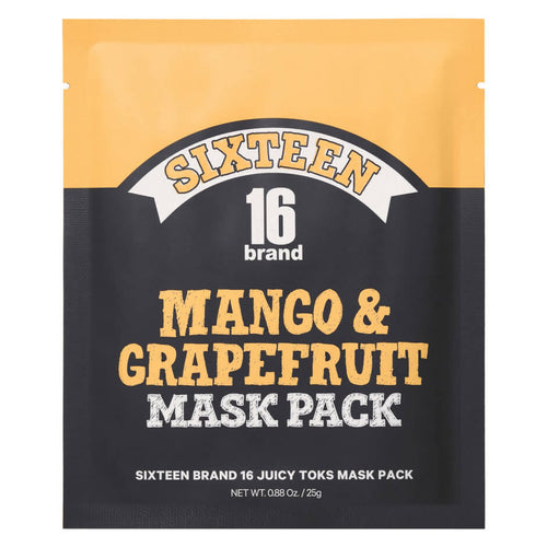 Yellow and black flat package containing a Mango and Grapefruit beauty face mask.The branding is Sixteen