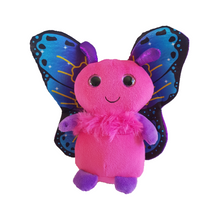 Pink butterfly soft toy with large purple and blue metallic wings. Gorgeous childrens cuddly toy