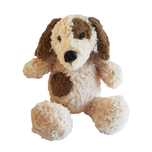 Cuddly soft plush toy, a cream colour puppy dog with brown patches and brown floppy ears. Big black nose and floppy paws