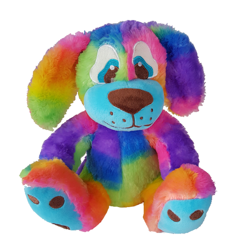 Large velvety soft rainbow coloured puppy teddy bear with floppy ears