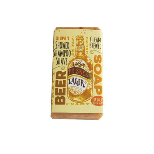 3 in 1 shower, shampoo and shave soap - Pilsner lager beer soap