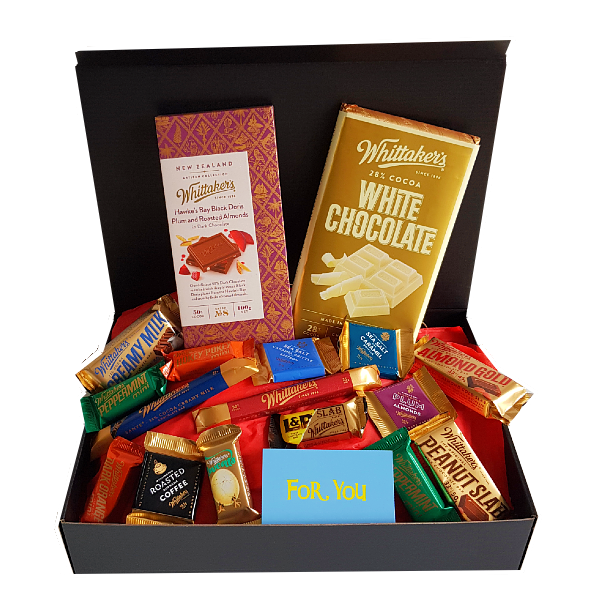 Large Gift box filled with variety of all Whittaker's chocolate options - artisan as well as classic, large full size mixed with slabs and mini bars.