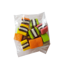 Cello bag filled with brightly coloured licorice allsorts pieces
