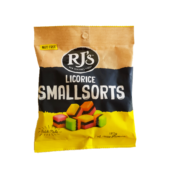 Bag of RJ's smallsorts licorice allsorts. Yellow and black packaging