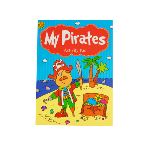 Brightly coloured pirates activity book showcasing a pirate and treasure chest on a beach