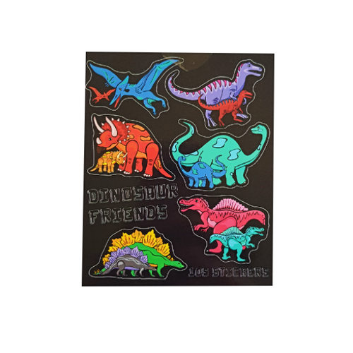 Sticker book with black background and brightly coloured dinosaurs. six different dinosaurs on cover showcasing the types of stickers in the book