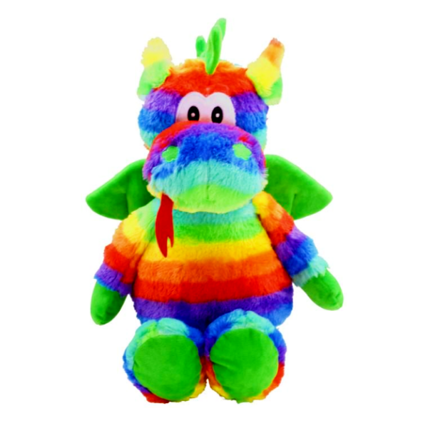 Colourful dragon plush soft toy with a cheeky smile and tongue sticking out. Green wings and rainbow coloured body. Bright and colourful