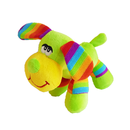 Bright lime green puppy dog soft toy with large floppy rainbow ears, cheeky grin, green nose and yellow face