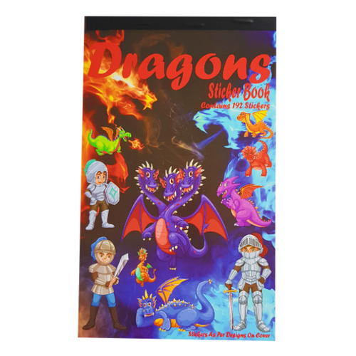 Large dragon sticker book. Red Dragons with fire for the title with images of different dragons