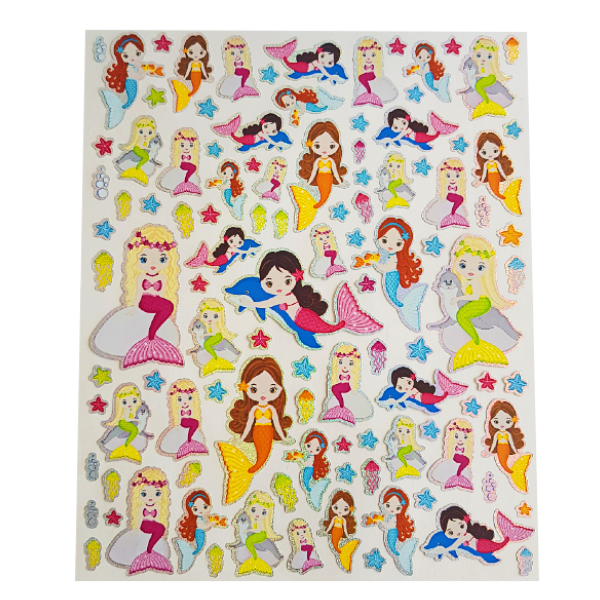 Large sheet of various brightly coloured mermaid stickers - metallic sheen