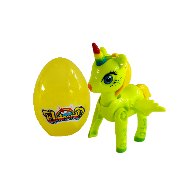 Green see through plastic egg next to green toy unicorn showcasing the product as a whole