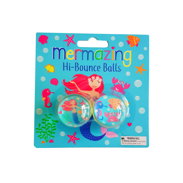 Blue undersea themed packaging showcasing two mermain themede high bouncey balls