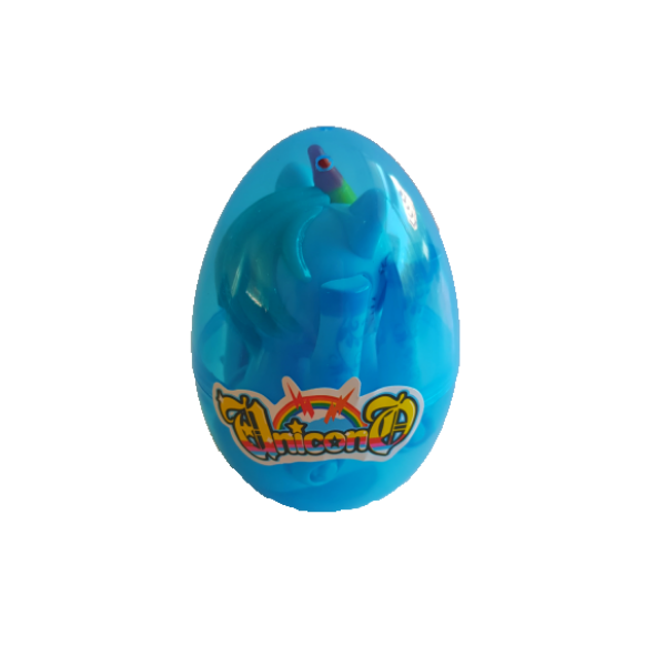 Blue plastic egg see through to a folded up unicorn inside