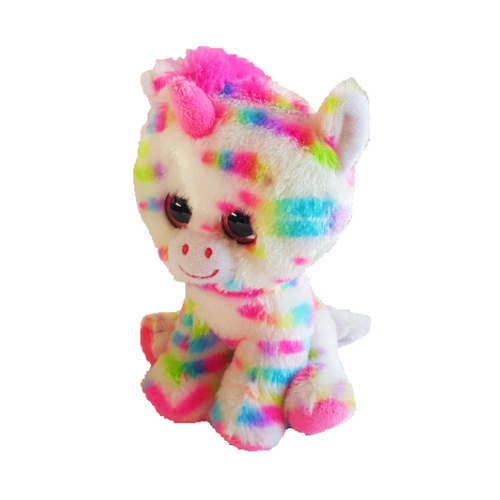 Large brightly coloured plush unicorn soft toy with pink detailing and rainbow patches on fur. Large googly eyes with pink glitter