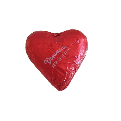 Red milk Chocolate Donovan's branded heart.