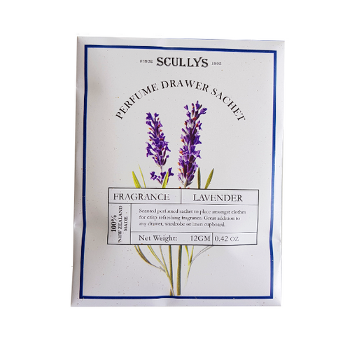 White and purple packaging with lavender detailed on it. Beautiful feminine packaging for scented drawer sachet