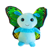 Blue butterfly soft toy with large green and blue metallic wings. Gorgeous childrens cuddly toy
