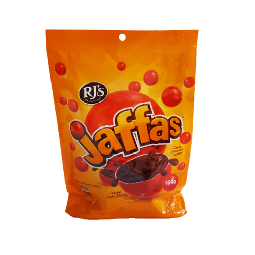 Large bag of bright orange RJ's branded Jaffas with reg jaffas on the package
