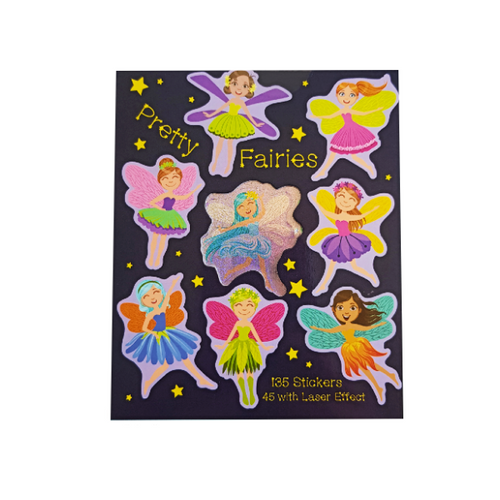 Stickerbook with black background, showcasing eight gorgeous brightly coloured fairies of the stickers found inside the book