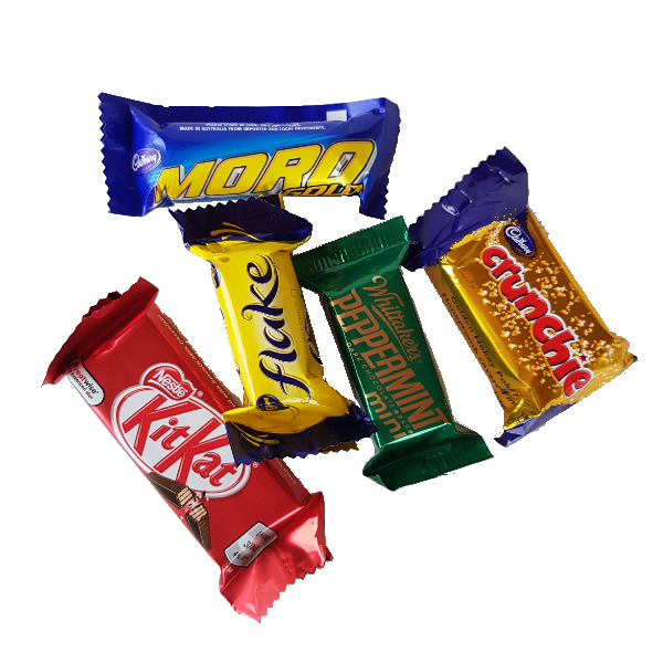 Five pieces of mixed fun sized chocolate bars, Whittakers, cadbury, nestle varieties