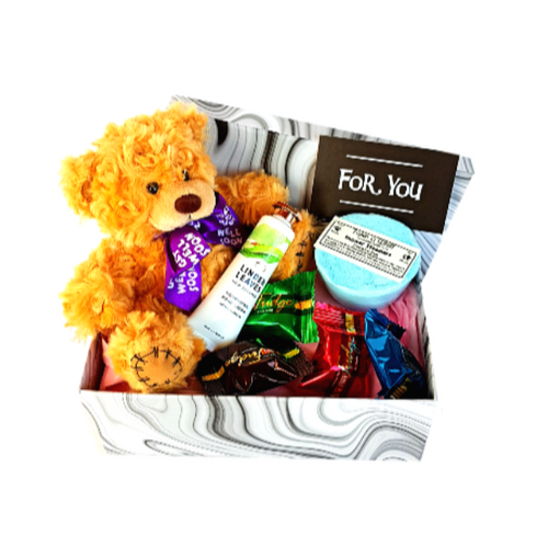 Get well teddy bear in gift box with handcream, shower steamer and mixed fudge