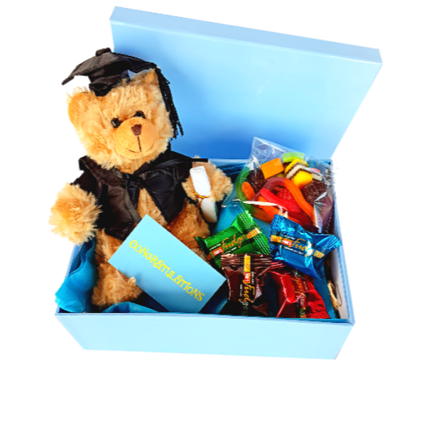 Scholar teddy bear with mixed fudge pieces and lolly bag in a gift box