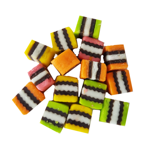 Brightly coloured licorice allsorts - mixed flavours