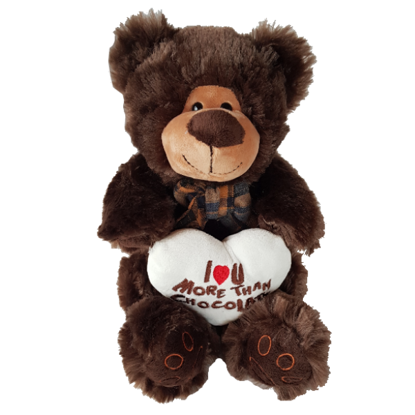 Large brown fluffy teddy bear holding a heart cushion stating I love you more than chocolate