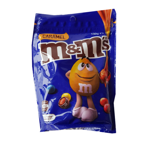 Large bright blue bag of caramel M&M's