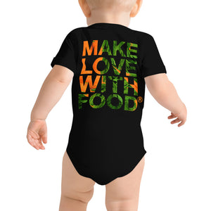Carrot Heart Baby Short Sleeve Cotton Onesie Black Back