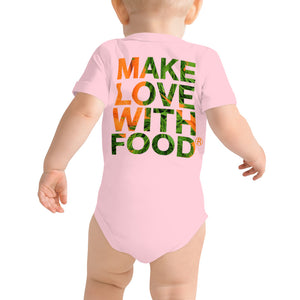 Carrot Heart Baby Short Sleeve Cotton Onesie Pink Back
