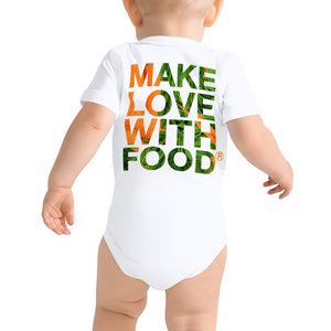 Carrot Heart Baby Short Sleeve Cotton Onesie White Back