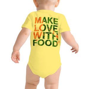 Carrot Heart Baby Short Sleeve Cotton Onesie Yellow Back