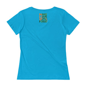 Carrot Heart Women's Scoopneck Cotton T Shirt Caribean Blue Back