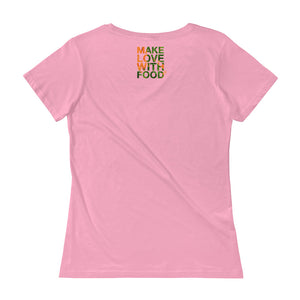 Carrot Heart Women's Scoopneck Cotton T Shirt Charity Pink Back