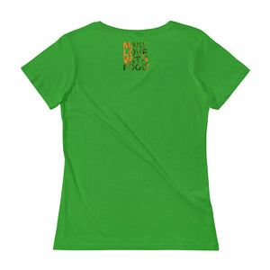 Carrot Heart Women's Scoopneck Cotton T Shirt Green Apple Back