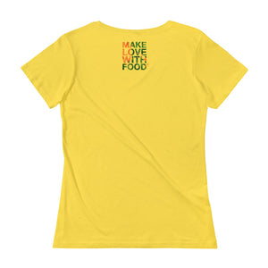 Carrot Heart Women's Scoopneck Cotton T Shirt Lemon Zest Back
