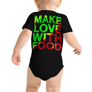 Strawberry Baby Short Sleeve Cotton Onesie Black Back