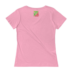 Strawberry Women's Scoopneck Cotton T Shirt Charity Pink Back