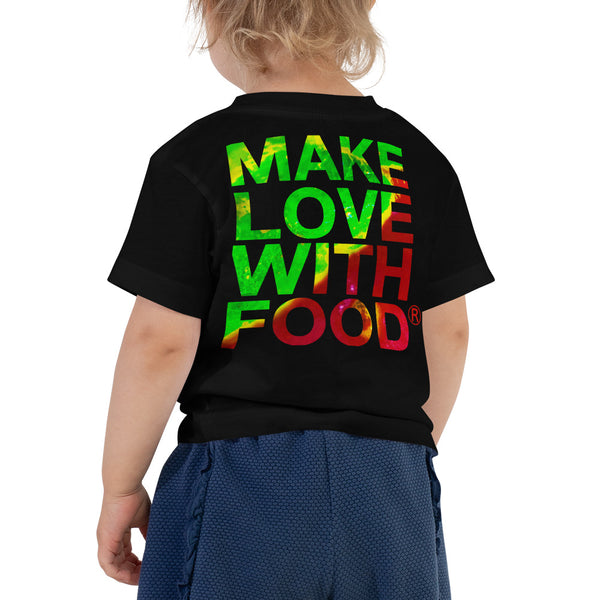 Strawberry Toddler Cotton Short Sleeve T Shirt Black Back