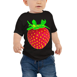 Strawberry Baby Cotton Short Sleeve T Shirt Black Front