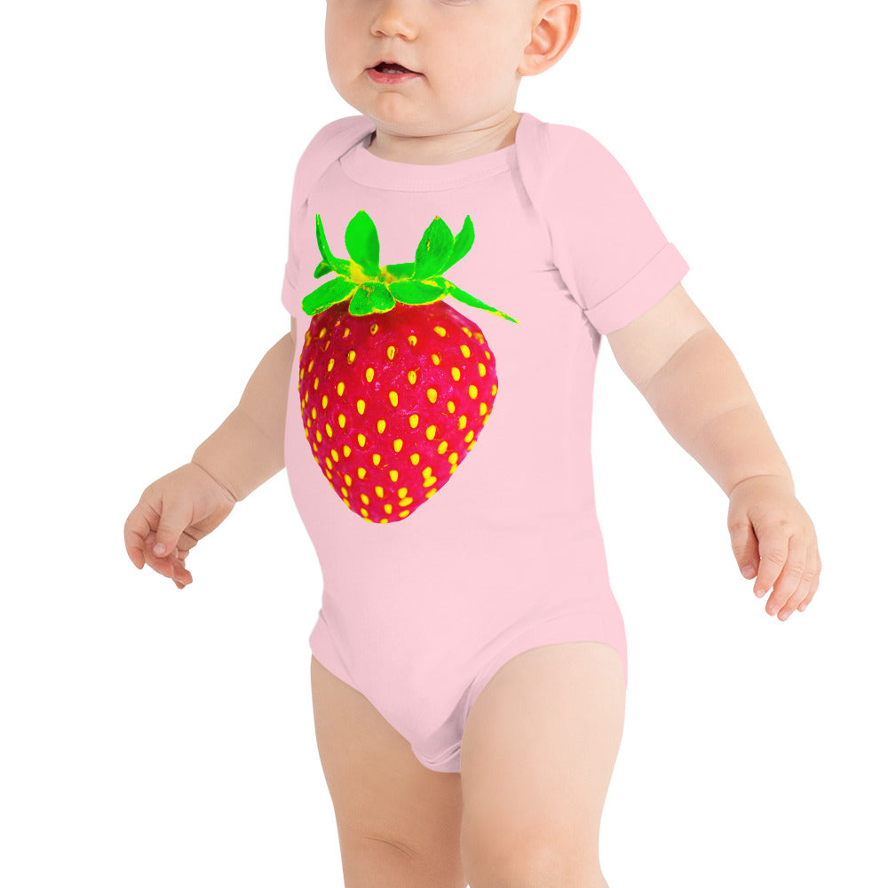 Strawberry Baby Short Sleeve Cotton Onesie Pink Front