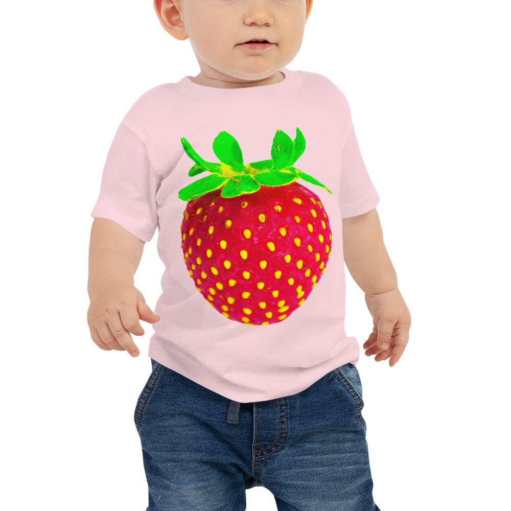 Strawberry Baby Cotton Short Sleeve T Shirt Pink Front