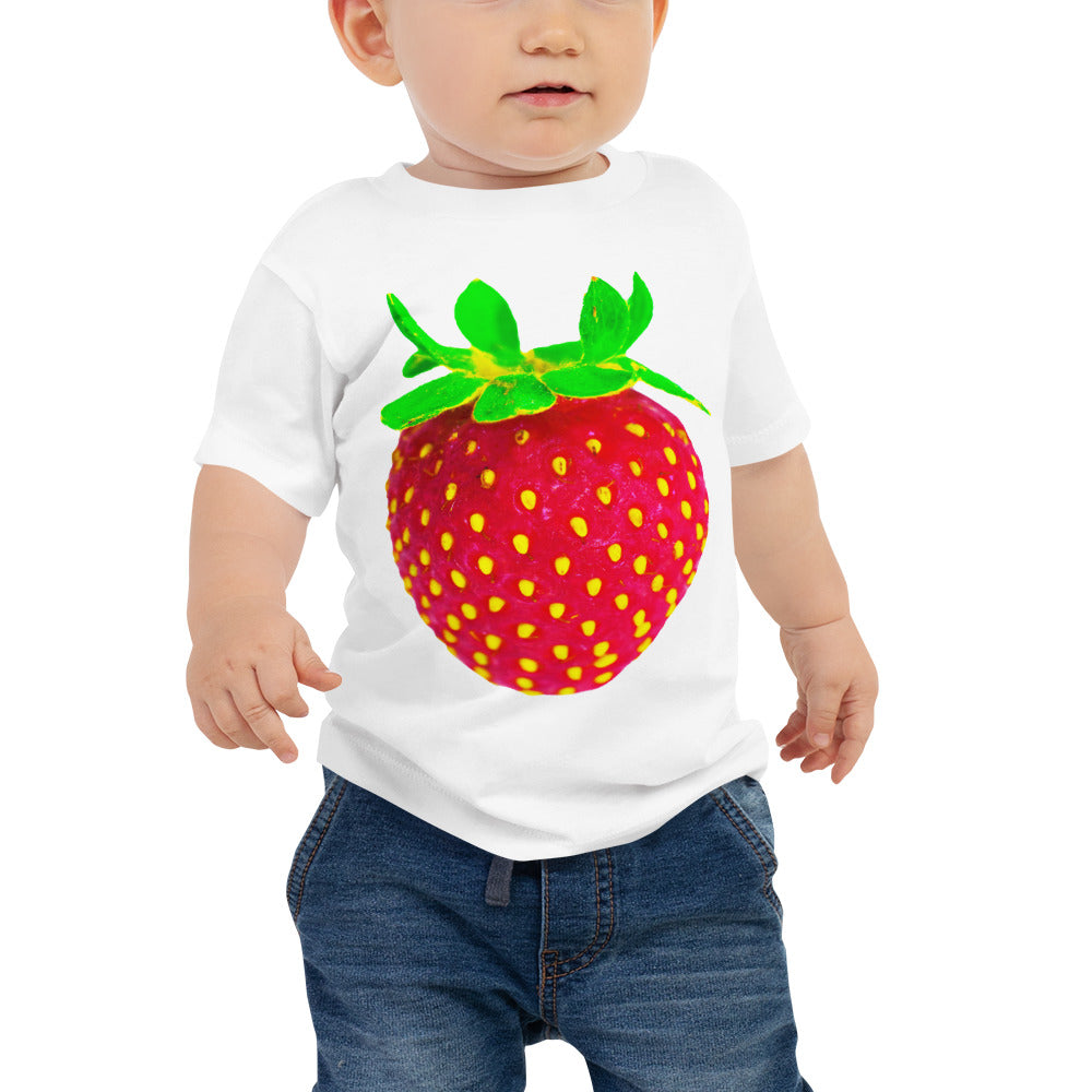 Strawberry Baby Cotton Short Sleeve T Shirt White Front