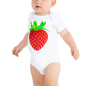 Strawberry Baby Short Sleeve Cotton Onesie White Front