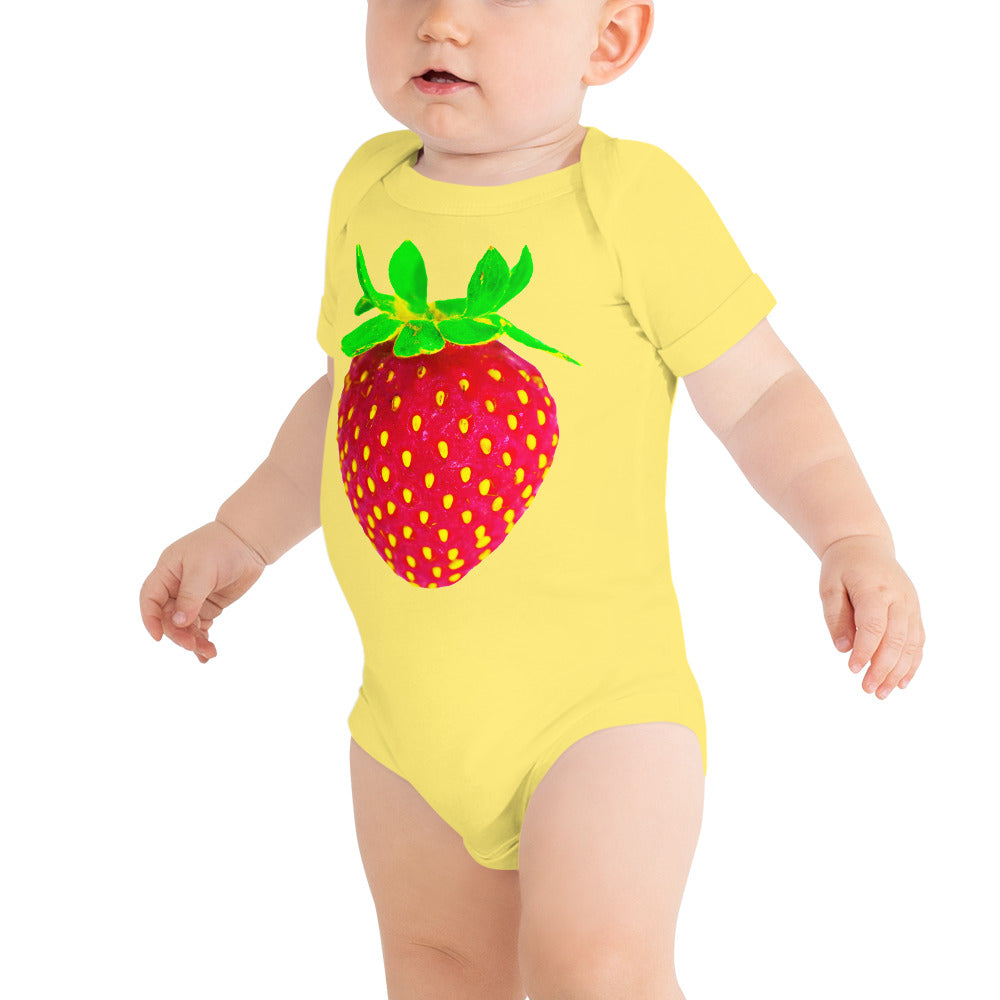 Strawberry Baby Short Sleeve Cotton Onesie Yellow Front