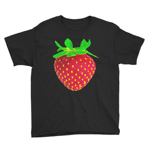 Strawberry Youth Cotton Short Sleeve T Shirt Black Front